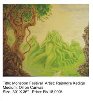 Monsoon festival painting by Rajendra Kedige