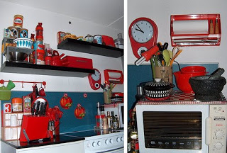 Decorating the small kitchen by red and retro theme