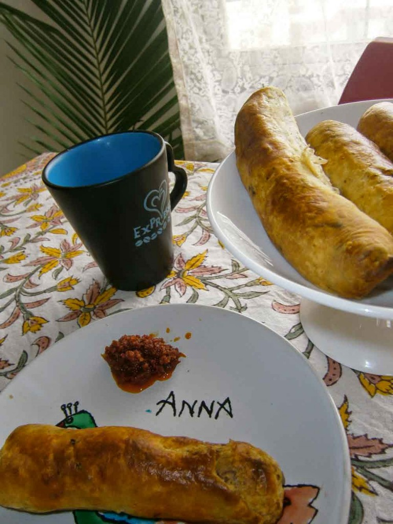 breakfast - personalized plates, sausage rolls, weekend baking, coffee