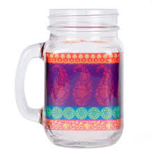 India Circus' Motif Cachemire Mason Glass Jar