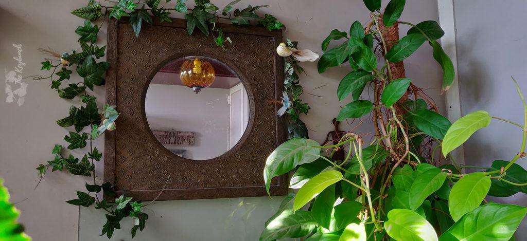 Jayashree Rajan's garden apartment tour on The Keybunch: a delightful mirror in green balcony