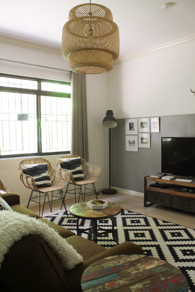Home Tour with Kaho of Chuzai Living - the rattan chair and chandelier at family room