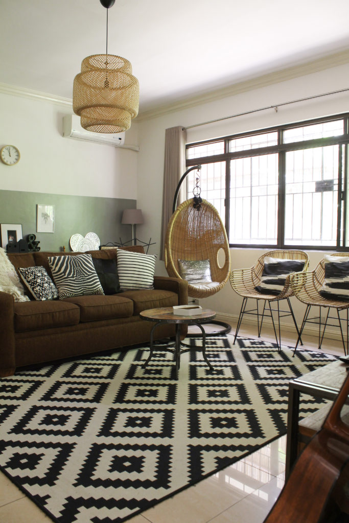 Home Tour with Kaho of Chuzai Living - The family room wjth rattan swing, rattan chairs and rattan chandelier