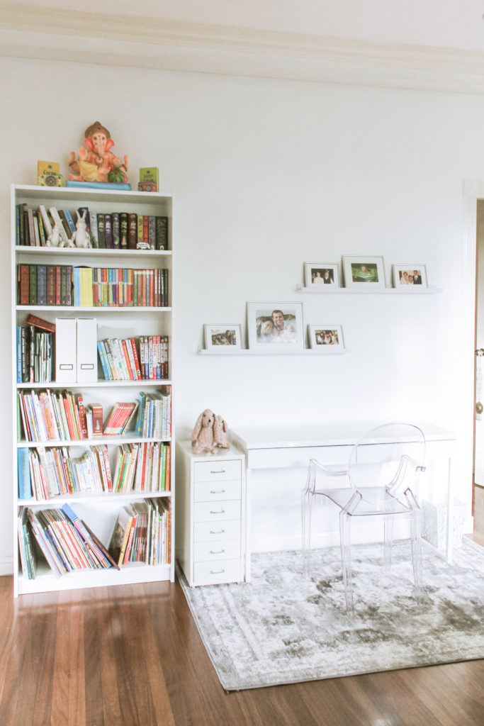 Home Tour with Kaho of Chuzai Living - the study room filled with book shelf, photo frames and study table and chair